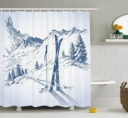 Ambesonne Winter Decorations Shower Curtain, Sketchy Graphic of a Downhill with Ski Elements in  ...