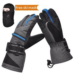 Ski Gloves, Winter Warm 3M Insulation Waterproof Snow Gloves with Free Breathable Face Mask for  ...