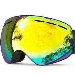 Zionor X Ski Snowboard Snow Goggles OTG Design for Men Women with Spherical Detachable Lens UV P ...