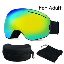 Skiing Goggles, ZNY Skis Ski Snowboard Snowmobile Skate Goggles With Detachable Anti Fog UV Wide ...