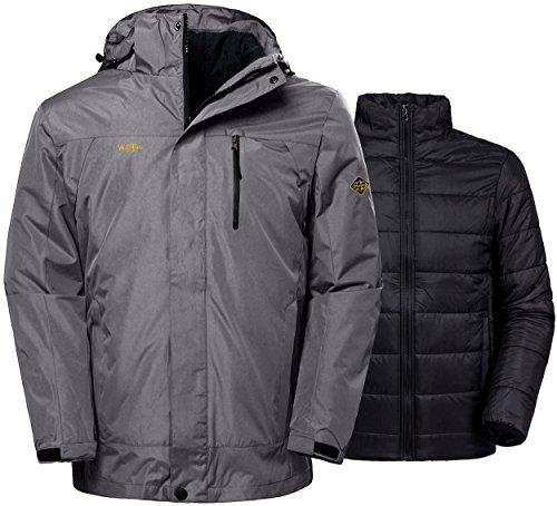 Wantdo Men's Winter Ski Jacket Water Resistant Windproof 3 in 1 Jacket Puff Liner