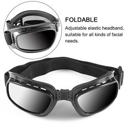 Baynne Folding Motorcycle Glasses Windproof Ski Goggles Off Road Racing Eyewear(Color black fram ...