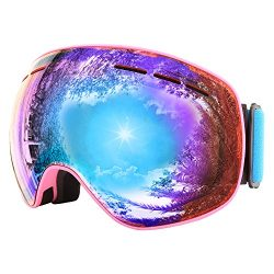 Jiepolly Ski Goggle Anti Fog Magnet Fast Changing Lens Pink Frame Orange Lens UV400 For Winter O ...