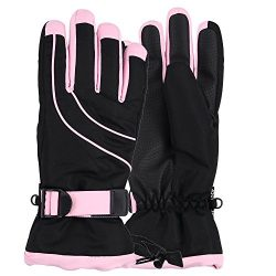 Women's Thinsulate Lined Waterproof Ski Glove (Black/Light Pink, Small/Medium)