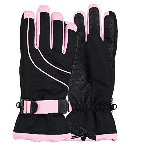 Women's Thinsulate Lined Waterproof Ski Glove (Black/Light Pink, Small/Medium)
