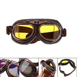MENGCORE Motorcycle Goggles Glasses Vintage Motocross Classic Goggles Retro Aviator Pilot Cruise ...
