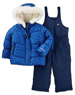 Osh Kosh Baby Girls Ski Jacket and Snowbib Snowsuit Outfit Set, Indigo Blue Dot, 24M