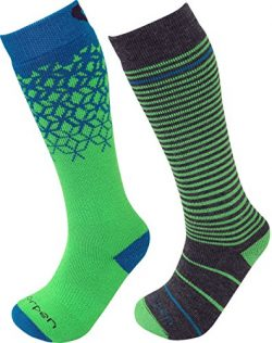 Lorpen Merino Kids Ski Socks (2 Packs), Green, Small