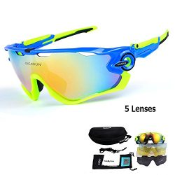 GIEADUN Polarized Sports Sunglasses UV400 Protection Cycling Glasses With 5 Interchangeable Lens ...