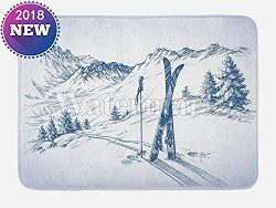 Customizable Winter Bath Mat by, Sketchy Graphic of a Downhill with Ski Elements in Snow Relax C ...