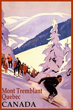 WINTER SPORTS MONT TREMBLANT QUEBEC CANADA SKI MOUNTAINS DOWNHILL SKIING TRAVEL VINTAGE POSTER R ...