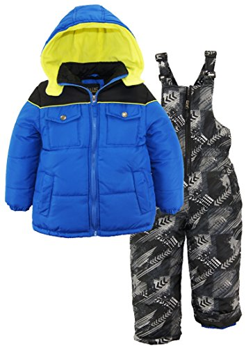 iXtreme Little Boys' Colorblock Snowsuit W/Print Bib, Royal, 6