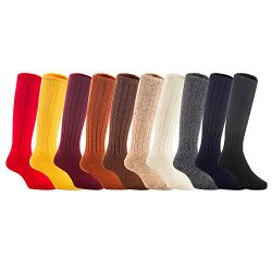 Lian LifeStyle 3 Pairs Unisex Baby Children Knee High Wool Blend Boot Socks Size 2-4Y Girl Rando ...