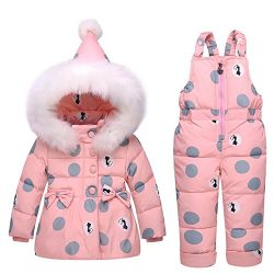 Infant and Toddler Baby Girls Down Snowsuit Jacket with Snow Ski Bib Pants Sets (2-3Years, Pink)