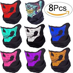 Motorcycle Face Masks – Pack of 8 Lyxuan Skull Mask Half Face Bandana Mask for Out Riding  ...