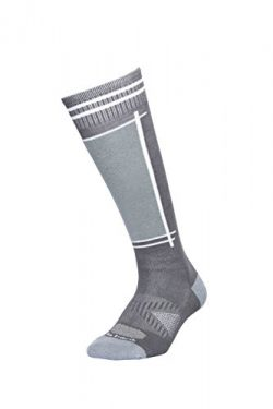 Le Bent Gunmetal Definitive Light Bamboo and Merino Socks, Grey/White, Large