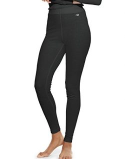 Duofold Women's Mid Weight Wicking Thermal Leggings, Black, Large