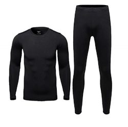 Therma Ultra-Soft Tagless Thermal Underwear – Mens Long Johns Set Base Layer Fleece Lined