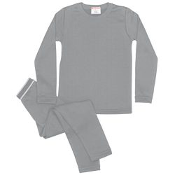 Rocky Boy's Fleece Lined Thermal Underwear 2PC Set Long John Top and Bottom (S, Grey)