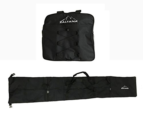 Zaltana SKB12 Padded Ski Carier Bag Rack Holds and Ski Boots Bag Combo, Black