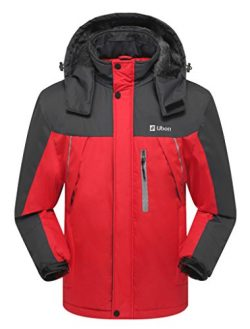Ubon Men's Outdoor Waterproof Raincoat Windproof Fleece Snow Ski Jacket Sportswear(Red,US S)
