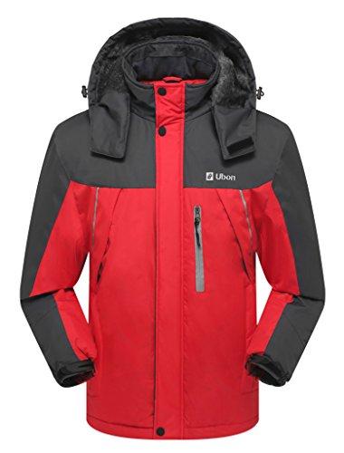 Ubon Men's Outdoor Waterproof Raincoat Windproof Fleece Snow Ski Jacket Sportswear(Red,US S)