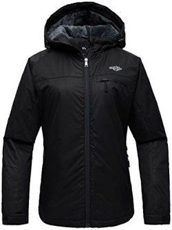 Wantdo Women's Hooded Mountain Ski Jacket Outdoor Fleece Windproof Rain Jacket Black US L