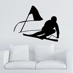 Downhill Skiing Wall Decal Vinyl Stickers Decals Home Decor Skier Snow Freestyle Jumping Extreme ...
