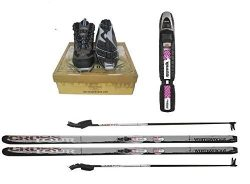 New Whitewoods Adult NNN Nordic Cross Country Ski Package Skis Binding Boots Poles 207cm, 180lbs ...