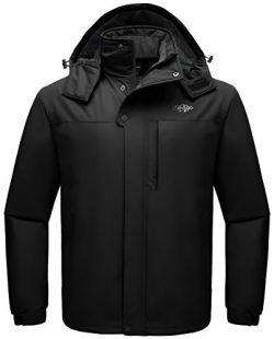 Wantdo Men's Detachable Hood Waterproof Rain Jacket Windbreak Fleece Ski Jacket Black US M ...