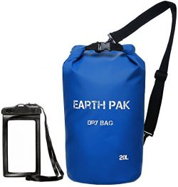 Earth Pak Waterproof Dry Bag – Roll Top Dry Compression Sack Keeps Gear Dry for Kayaking,  ...