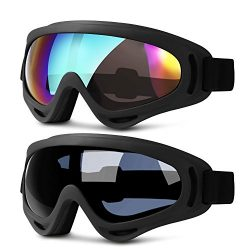 Ski Goggles, 2 Pack Updated Snowboard Goggles for Kids Men Women Boys & Girls with Thickenin ...