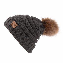 Sothread Womens Winter Slouchy Knit Beanie Chunky Faux Fur Pom Pom Hat Bobble Hat Ski Cap (Gray)
