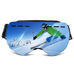 Ewin G01 Ski Goggles, Frameless Snowboard Goggles with REVO Anti-Fog Lens 100% UV400 Protection  ...