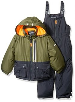Osh Kosh Little Boys' Ski Jacket and Snowbib Snowsuit Set, Green/Grey, 5/6