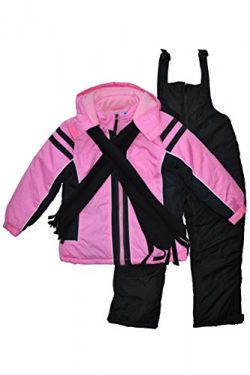 Snowsuits for Kids Girl's 3-Piece Fleece Lined Active Snowsuit (5-6, Pink)