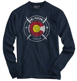 Classic Teaze Colorado Flag Ski Patrol Skiing Snow Winter Mountain State US Long Sleeve T-Shirt