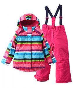 M2C Girls Thicken Warm Hooded Striped Ski Snowsuit Jacket & Pants 7/8 Rose