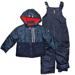 Osh Kosh Little Boys' Ski Jacket and Snowbib Snowsuit Set, Current Navy, 4