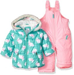 Carter's Baby Girls 2-Piece Heavyweight Printed Snowsuit, Turquoise Bunny, 12M
