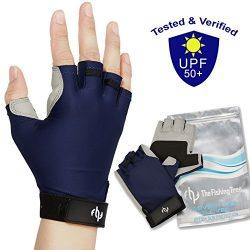 UV FISHING GLOVES SUN PROTECTION For Men & Women, Certified UPF50+, Half Finger Glove Kayaki ...