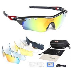 Polarized sunglasses, men's and women's outdoor sports fashion glasses with 5 sets o ...