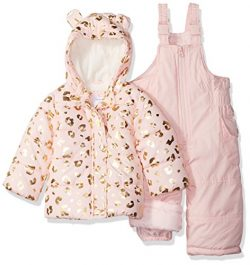 Carter's Baby Girls 2-Piece Heavyweight Printed Snowsuit with Ears, Leopard Light Pink, 12M