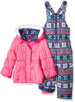 Pink Platinum Little Girls' Printed Super Snowsuit, Pink Snowflake, 6X