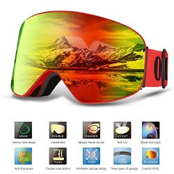 OUTAD Ski Goggles PRO Snow Goggles OTG DESIGN Frameless, Interchangeable Lens 100% UV400 Protect ...