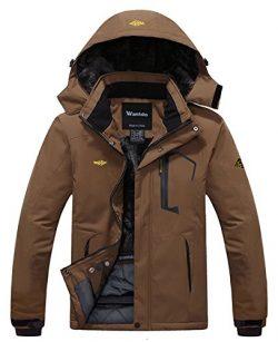 Wantdo Men's Waterproof Mountain Jacket Fleece Windproof Ski Jacket US M  Coffee M