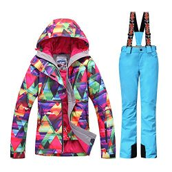 HOTIAN Women's High Windproof Technology Colorful Printed Snowboard Clothing Ski Jacket