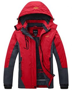 Wantdo Women's Waterproof Mountain Jacket Fleece Ski Jacket US XL  Red X-Large