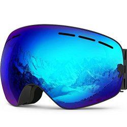 Zionor X Ski Snowboard Snow Goggles OTG Design for Men Women with Spherical Detachable Lens UV P ...