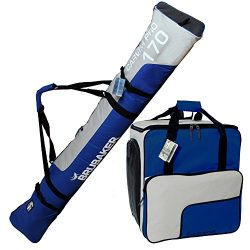 BRUBAKER Superfunction – Combo Ski Boot Bag and Ski Bag for 1 Pair of Ski up to 170 cm (66 ...